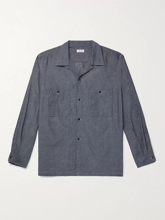 nanamica Wind Camp-Collar Lyocell and Cotton-Blend Shirt