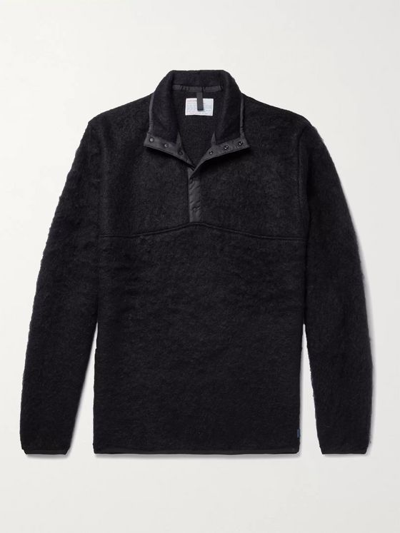 nanamica Shell-Trimmed Mohair-Blend Half-Placket Sweater