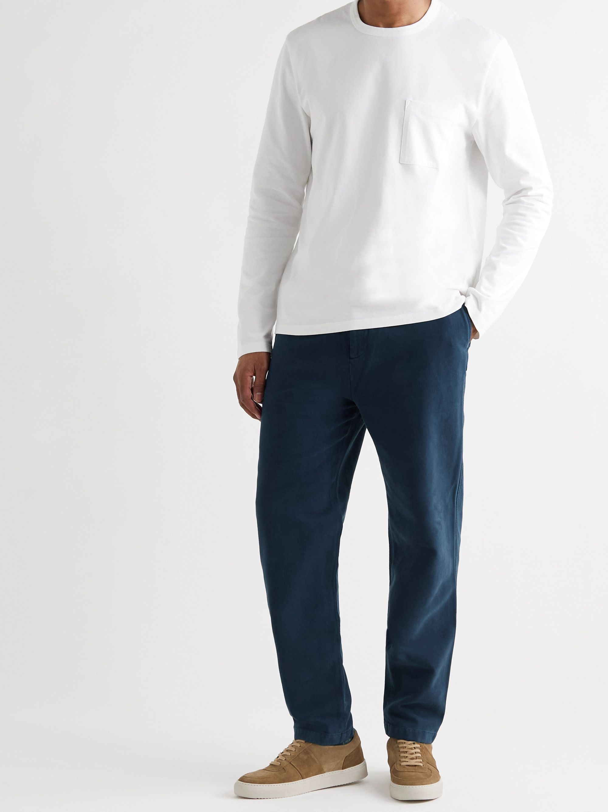 MR P. Tapered Garment-Dyed Cotton and Wool-Blend Twill Drawstring Trousers