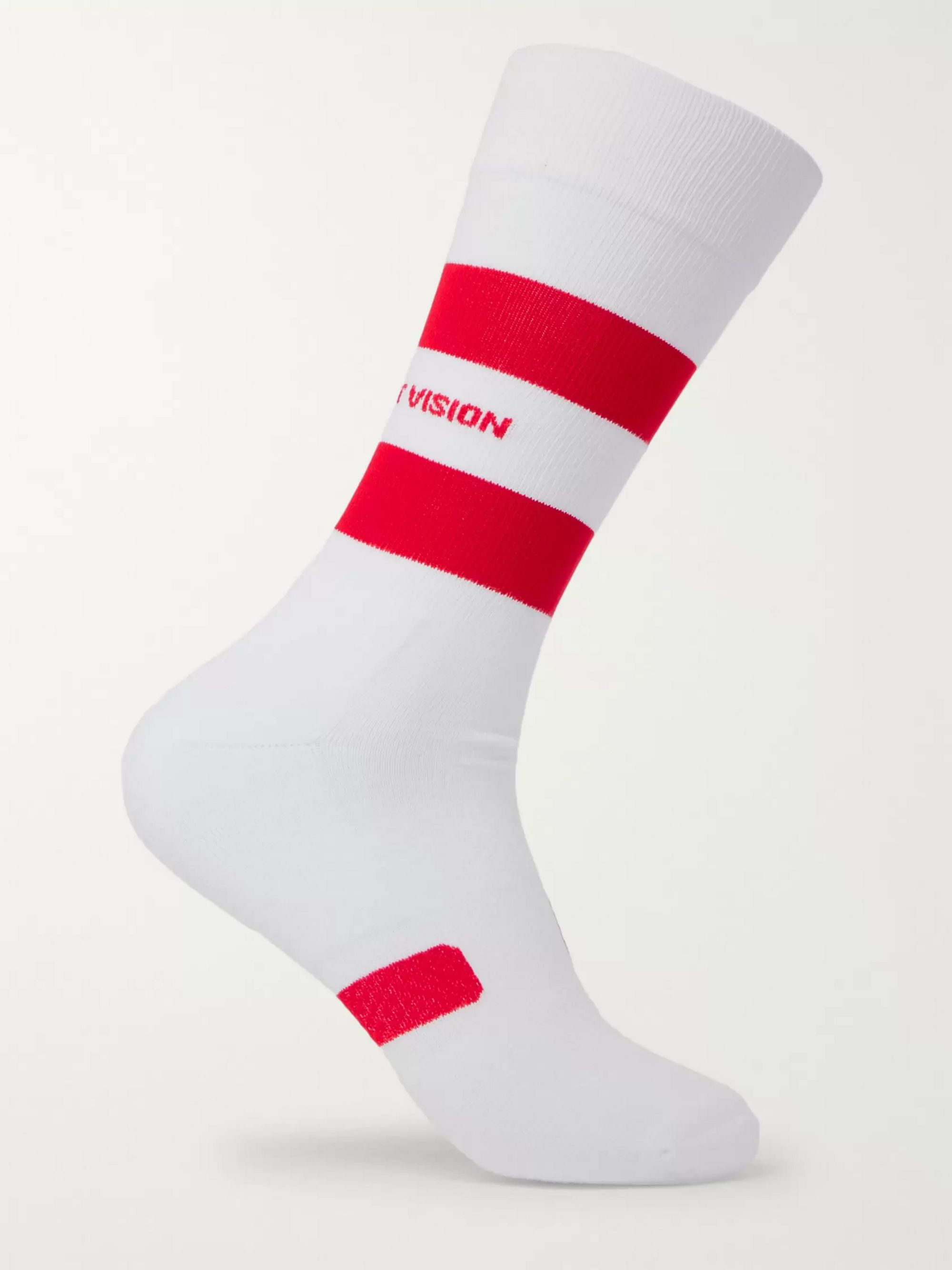 DISTRICT VISION Fred Striped Stretch Cotton-Blend Running Socks