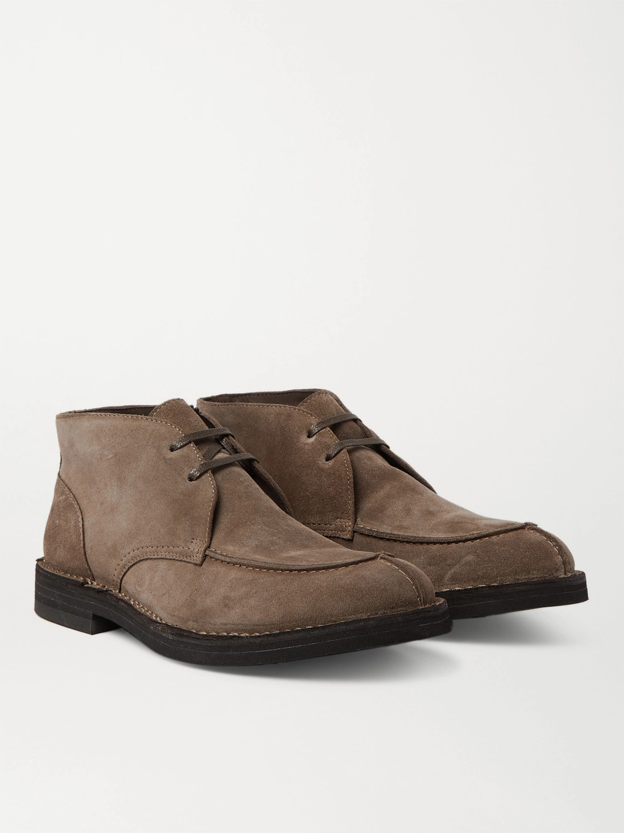 Mr P. Shearling-Lined Split-Toe Suede Chukka Boots