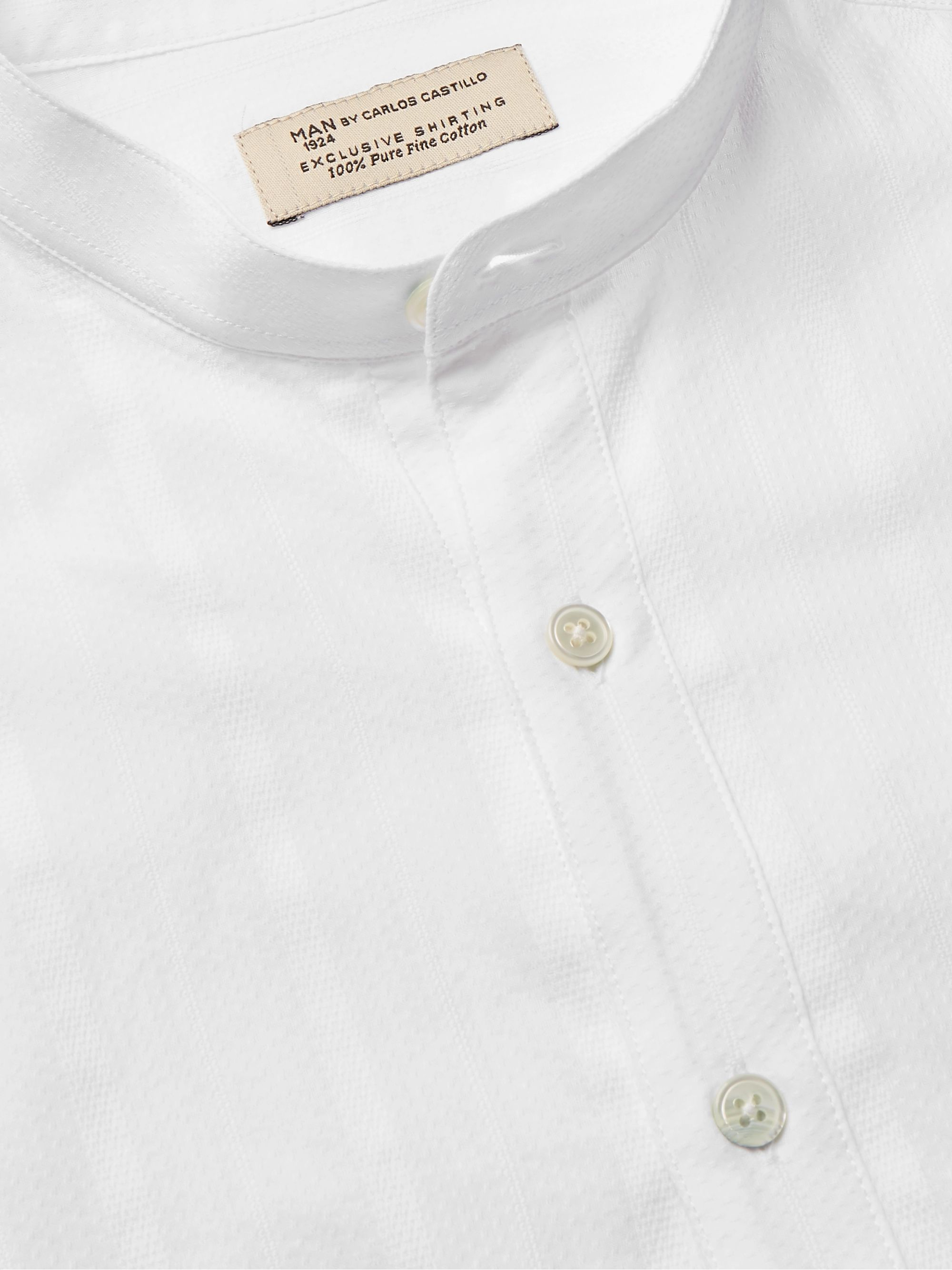 MAN 1924 Mao Slim-Fit Grandad-Collar Textured-Cotton Shirt