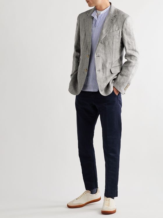MAN 1924 Kennedy Slim-Fit Unstructured Herringbone Linen Blazer
