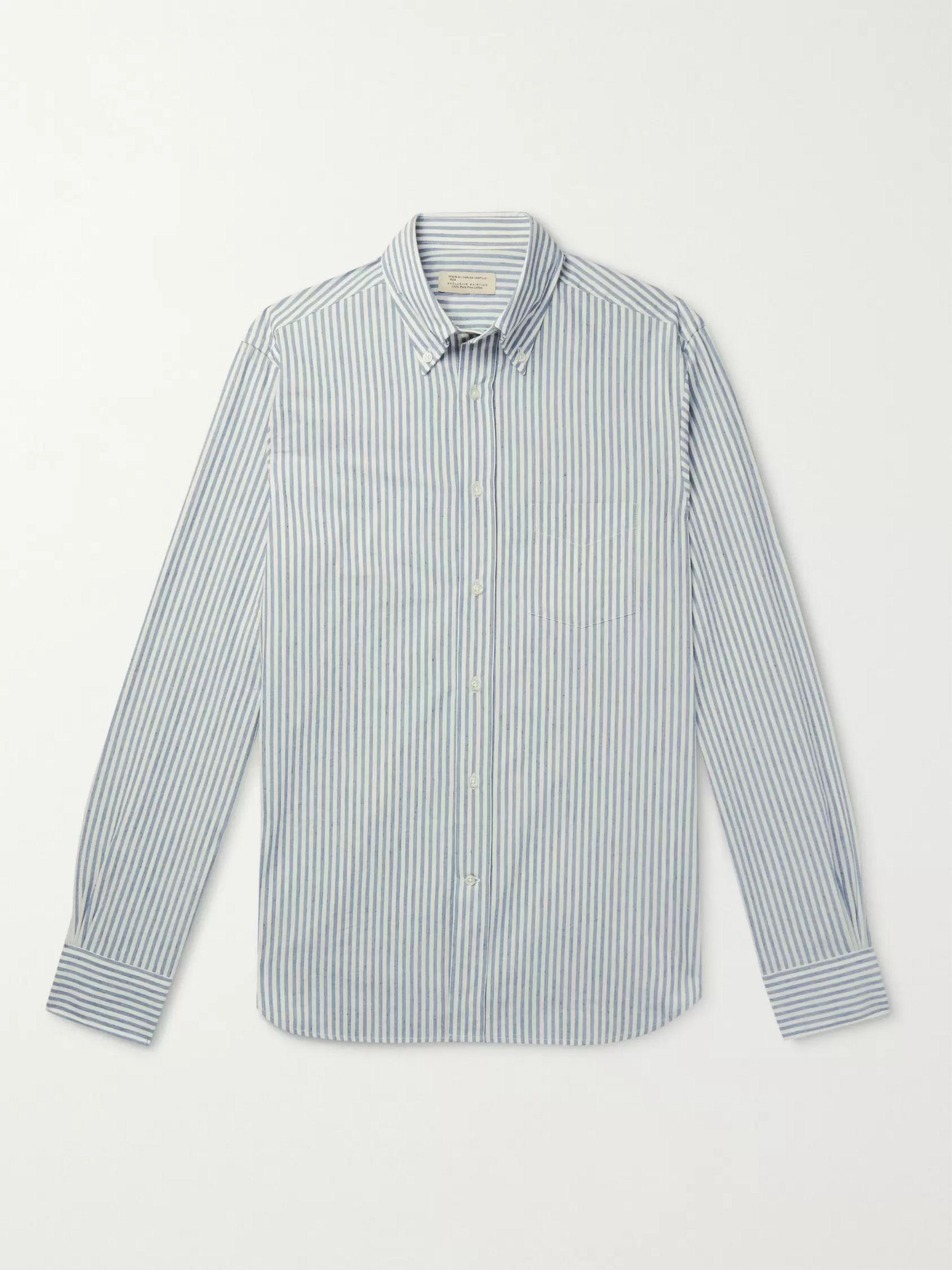 MAN 1924 Slim-Fit Button-Down Collar Striped Cotton Shirt