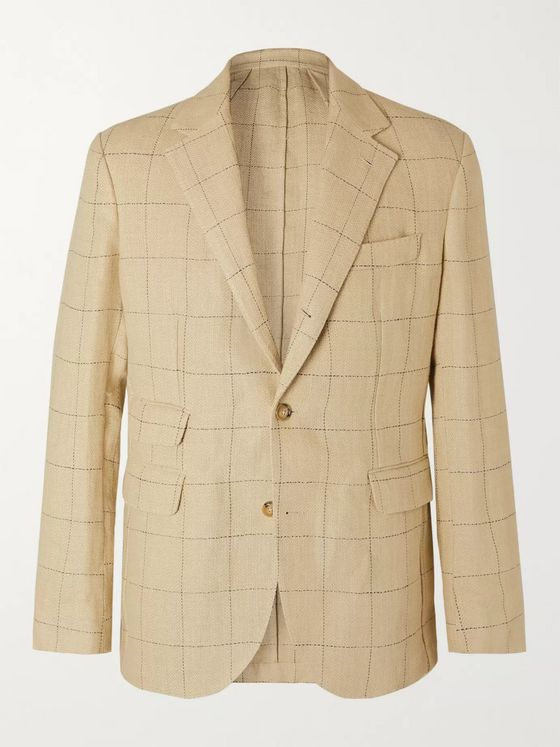 MAN 1924 Kennedy Slim-Fit Unstructured Checked Linen Blazer