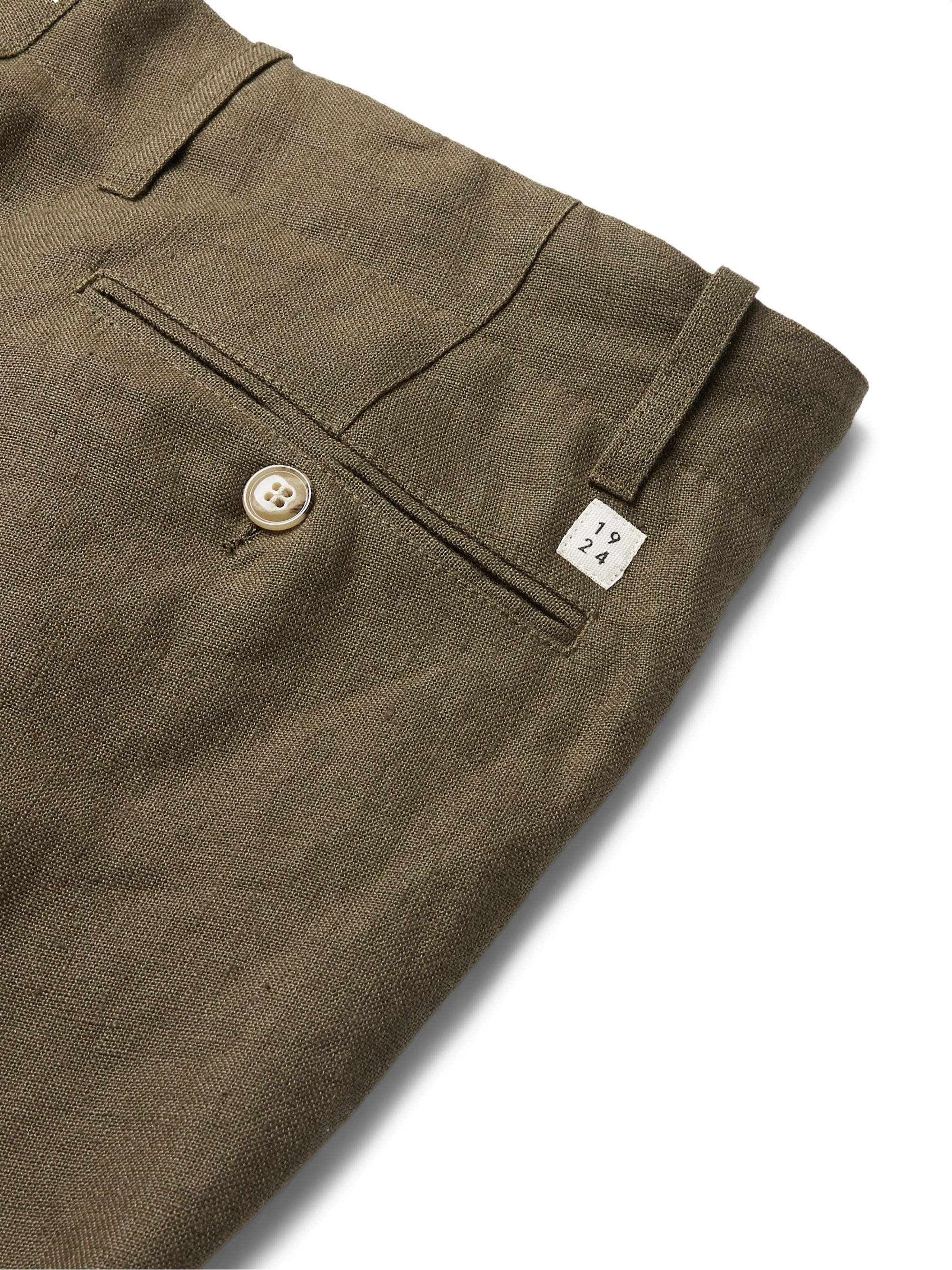 Army Green Tomi Tapered Linen Drawstring Trousers | Man 1924