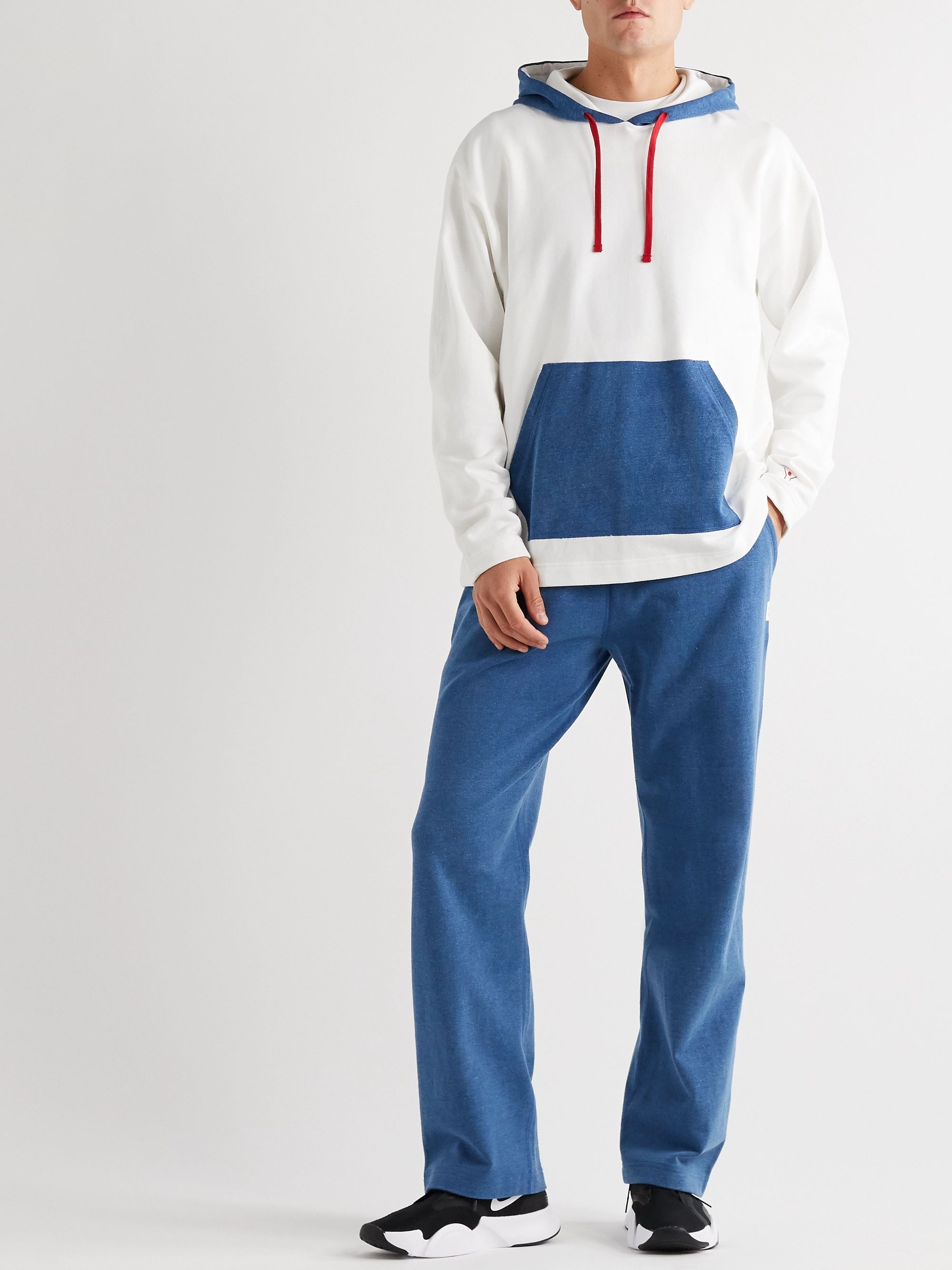 DISTRICT VISION + Reigning Champ Colour-Block Loopback Cotton-Jersey Sweatpants