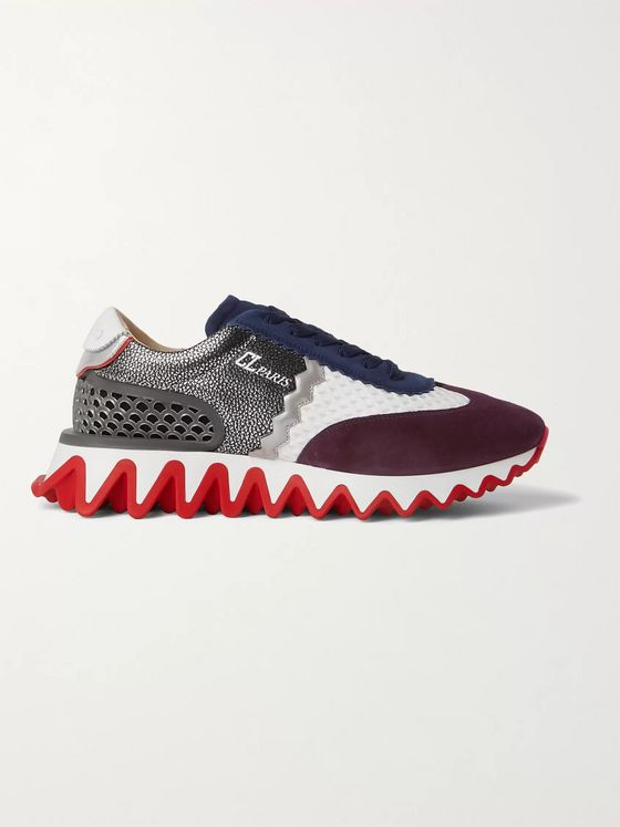 CHRISTIAN LOUBOUTIN Loubishark Suede, Mesh, Rubber and Textured-Leather Sneakers