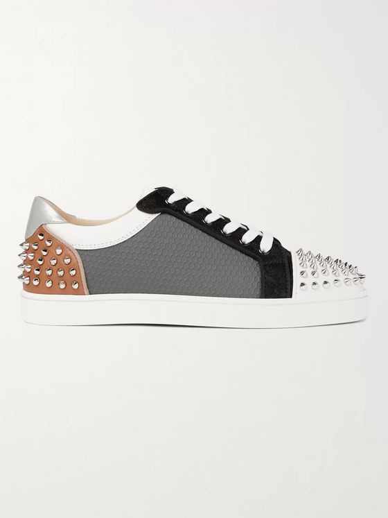 CHRISTIAN LOUBOUTIN Sevaste Spiked Leather, Honeycomb Canvas and Mesh Sneakers