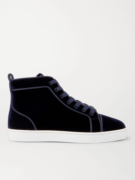 CHRISTIAN LOUBOUTIN Louis Leather-Trimmed Velvet High-Top Sneakers