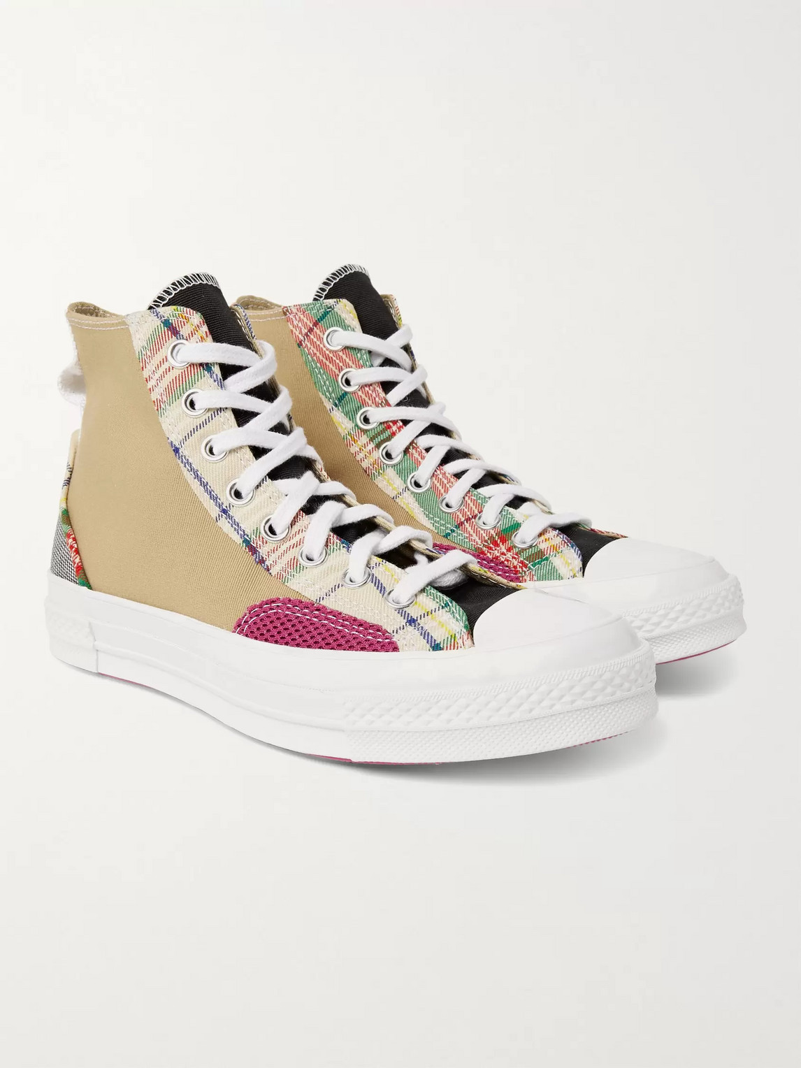 CONVERSE HACKED FASHION CHUCK 70 PATCHWORK MESH-TRIMMED CANVAS HIGH-TOP SNEAKERS
