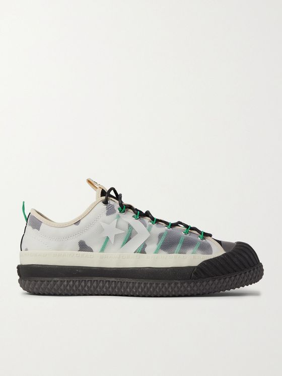 Converse + Brain Dead Bosey Rubber-Trimmed Animal-Print Canvas and Mesh Sneakers