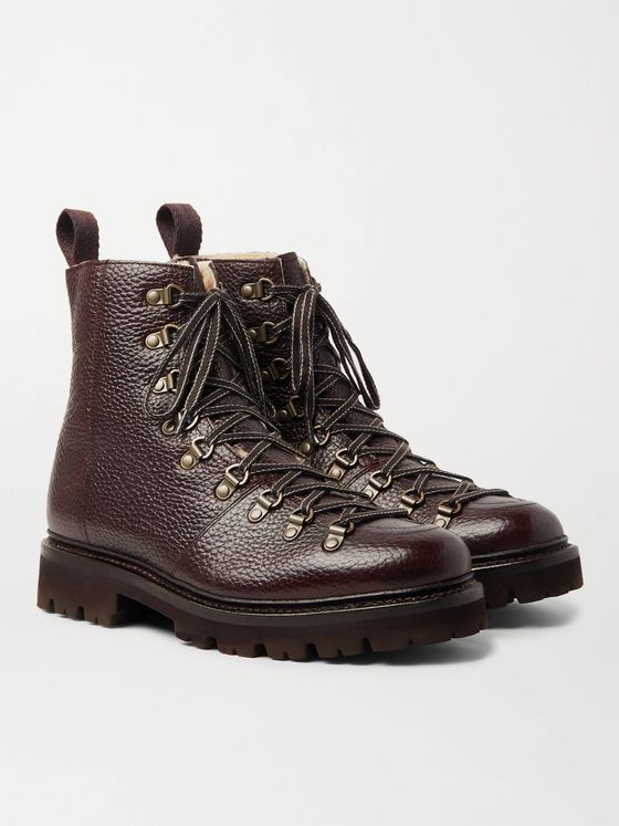Grenson Brady Shearling-Lined Full-Grain Leather Hiking Boots