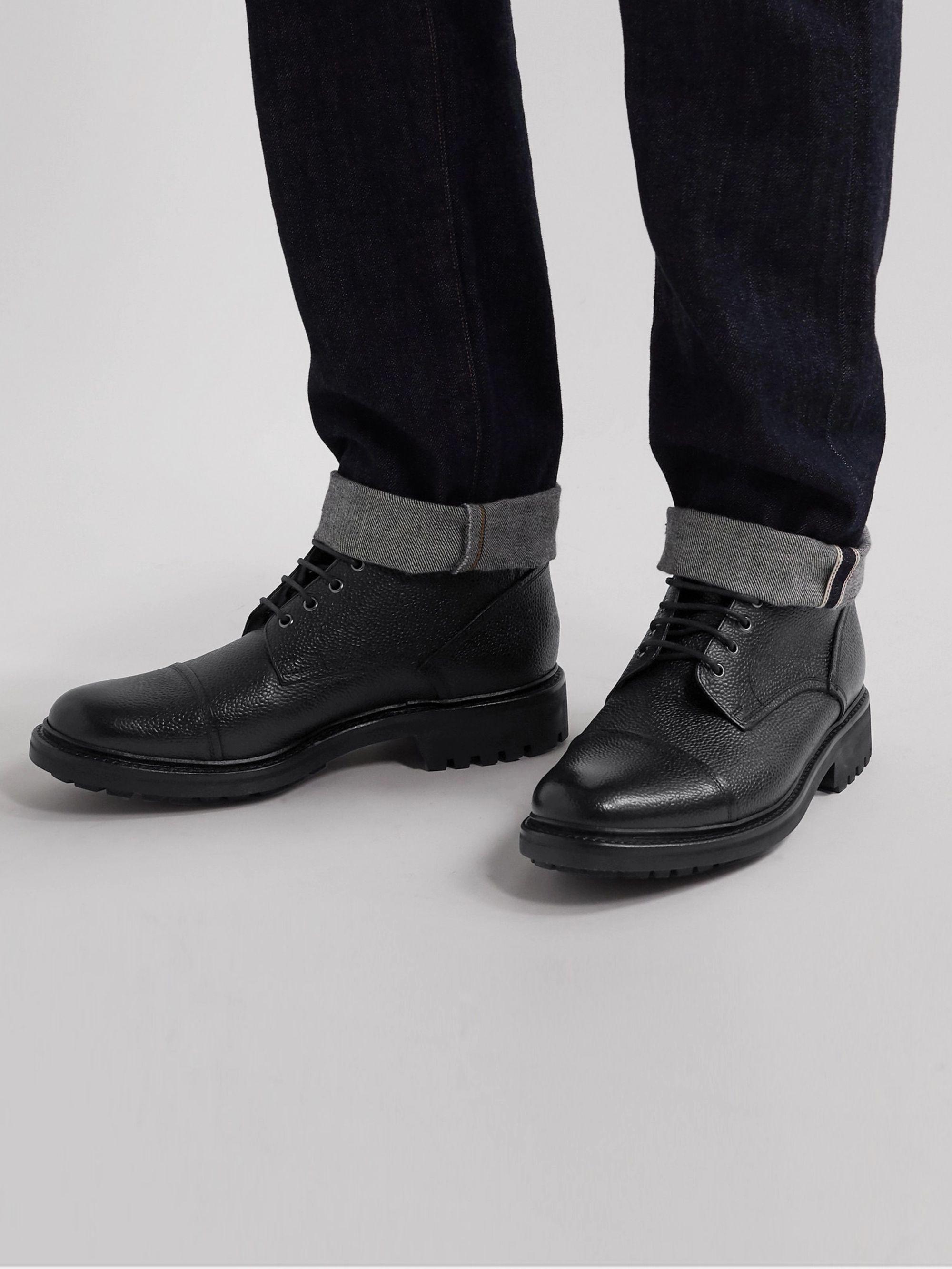 GRENSON Joseph Cap-Toe Pebble-Grain Leather Boots