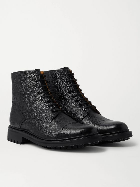 GRENSON Joseph Cap-Toe Pebble-Grain Leather Boots