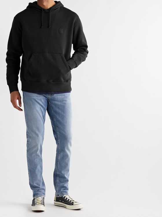 NUDIE JEANS Frankie Logo-Appliquéd Organic Fleece-Back Cotton-Jersey Hoodie