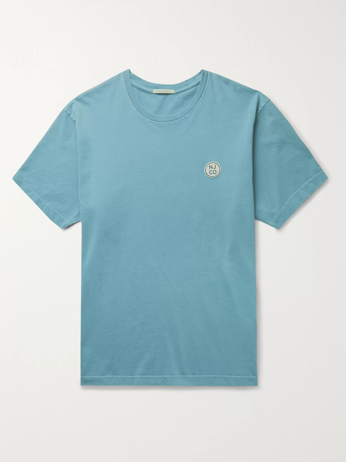 nudie jeans - uno logo-appliquéd organic cotton-jersey t-shirt - men - blue