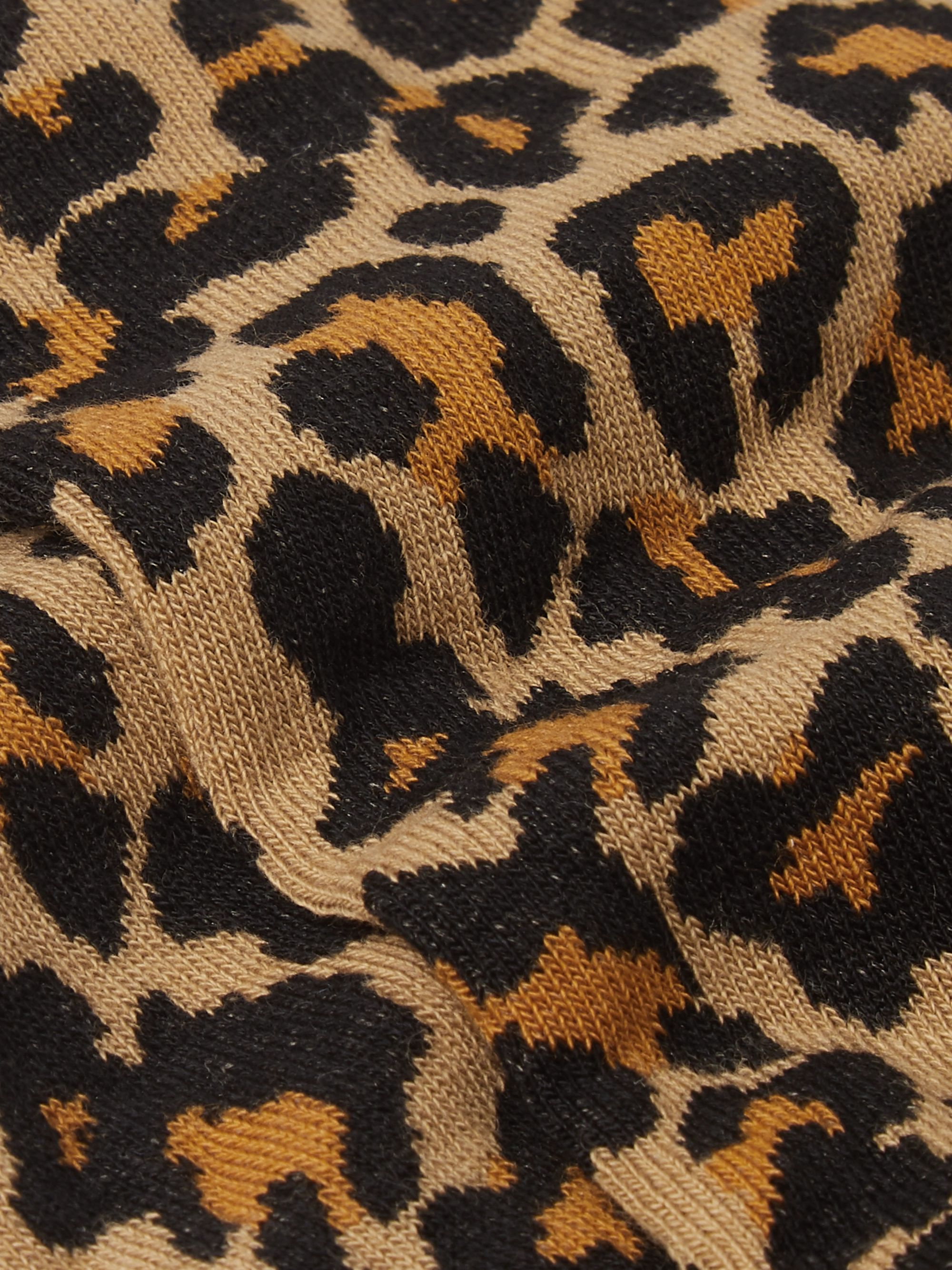 Nudie Jeans Olsson Ribbed Leopard-Print Cotton-Blend Socks