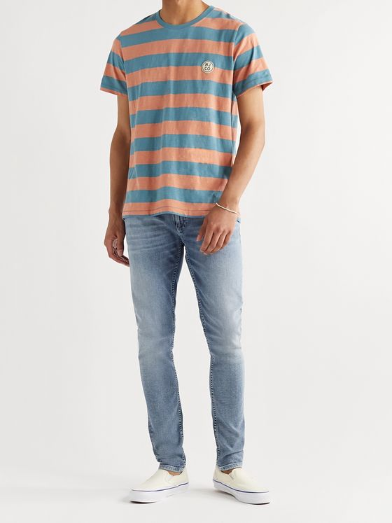 Nudie Jeans Roy Logo-Appliquéd Striped Slub Cotton-Jersey T-Shirt