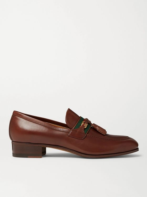GUCCI Paride Webbing-Trimmed Tasselled Leather Loafers