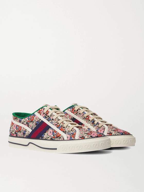 Gucci + Liberty Tennis 1977 Leather and Webbing-Trimmed Printed Canvas Sneakers