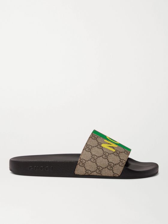 GUCCI Printed Leather-Trimmed Monogrammed Coated-Canvas Slides