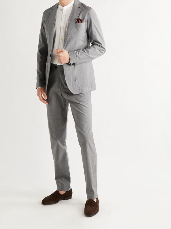 OLIVER SPENCER Tapered Micro-Houndstooth Cotton-Blend Suit Trousers