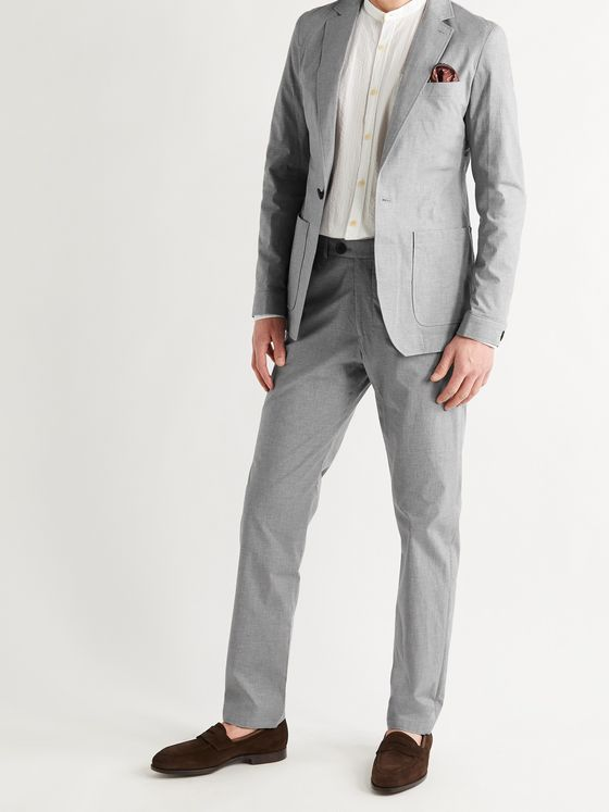OLIVER SPENCER Slim-Fit Unstructured Micro-Houndstooth Cotton-Blend Suit Jacket