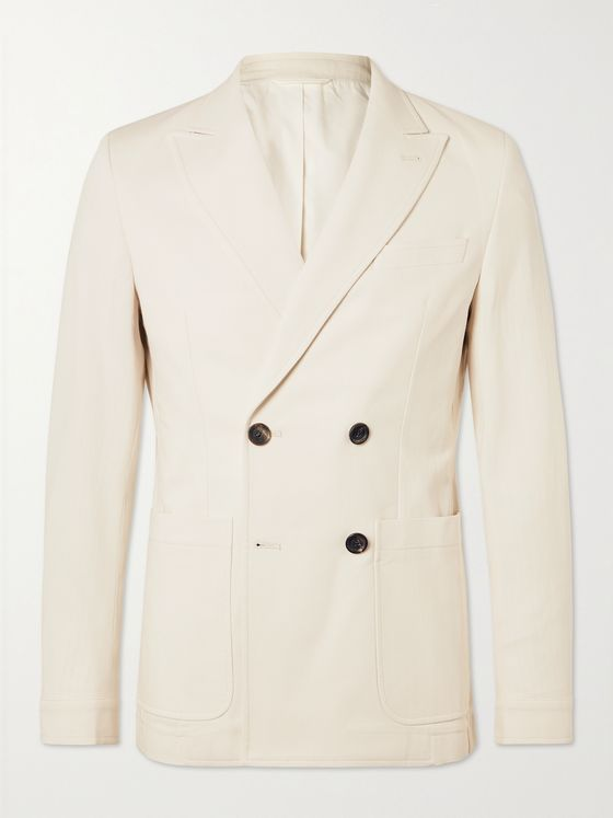 OLIVER SPENCER Unstructured Double-Breasted Cotton Suit Jacket