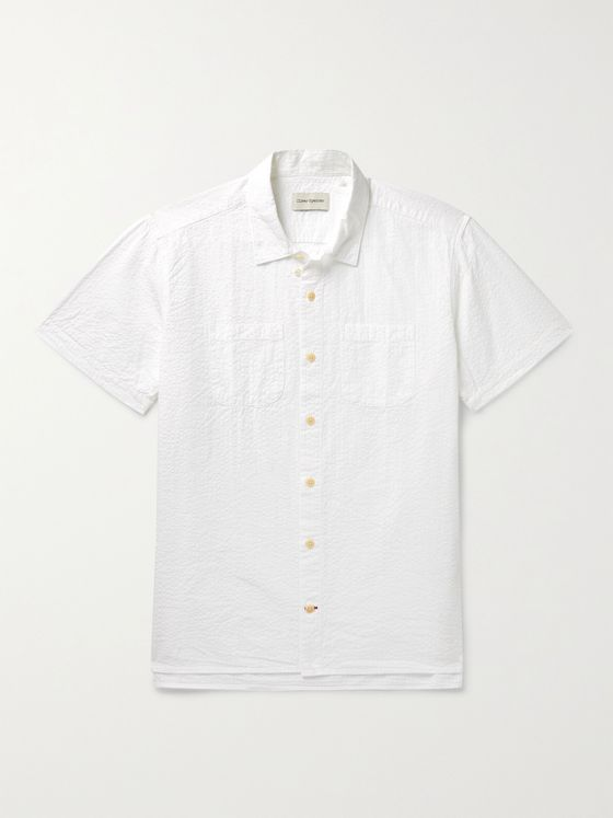 OLIVER SPENCER Convertible-Collar Cotton-Seersucker Shirt
