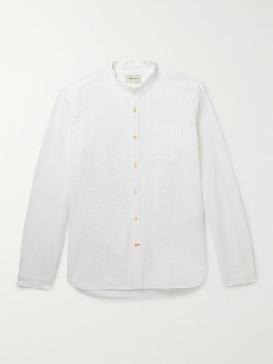 OLIVER SPENCER Grandad-Collar Cotton-Seersucker Shirt