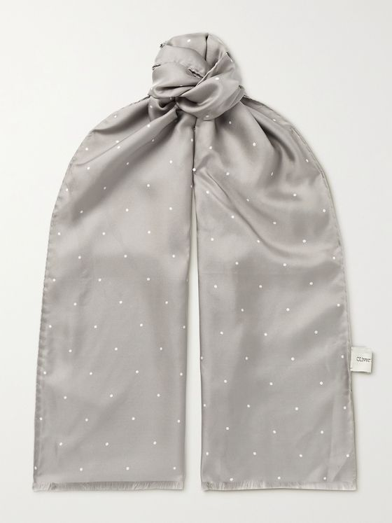 OLIVER SPENCER Fringed Polka-Dot Silk-Twill Scarf