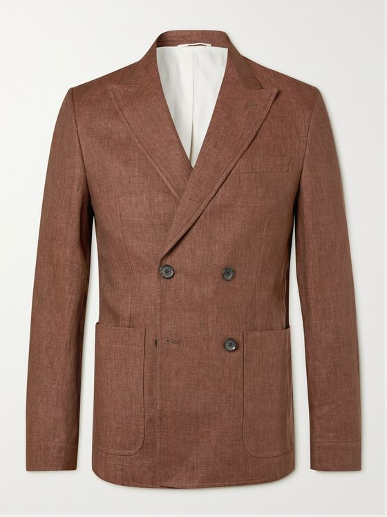 OLIVER SPENCER Unstructured Double-Breasted Linen Suit Jacket