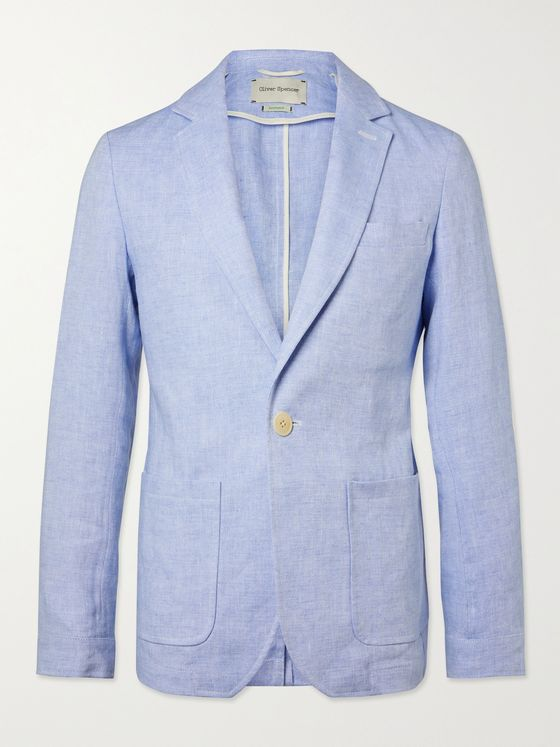 OLIVER SPENCER Fairway Unstructured Linen Suit Jacket