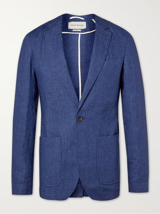 OLIVER SPENCER Fairway Slim-Fit Unstructured Linen Suit Jacket
