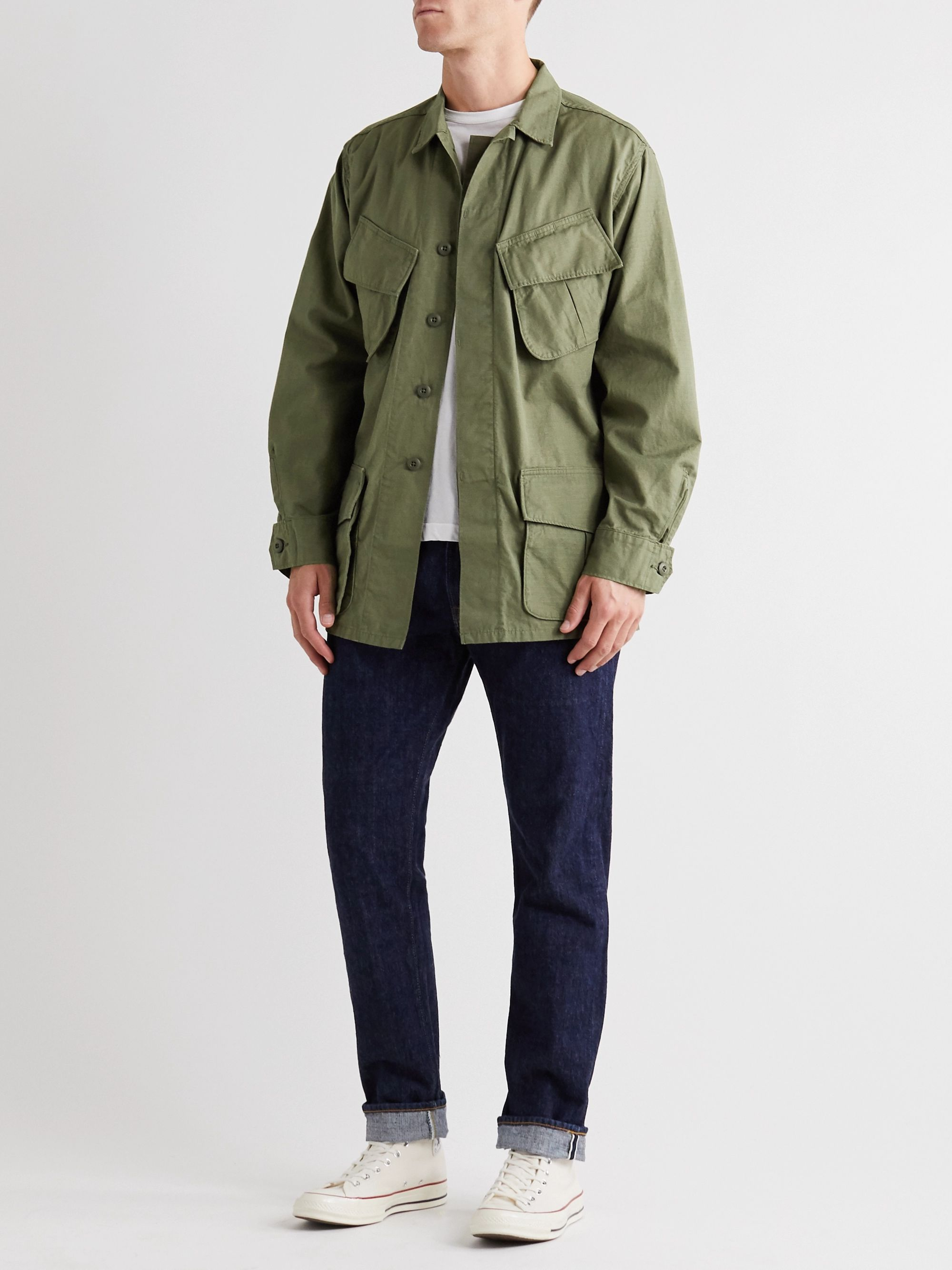 Army Green Cotton-ripstop Field Jacket   Orslow