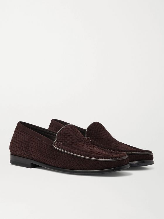 J.M. Weston Collapsible-Heel Leather-Trimmed Woven Suede Loafers