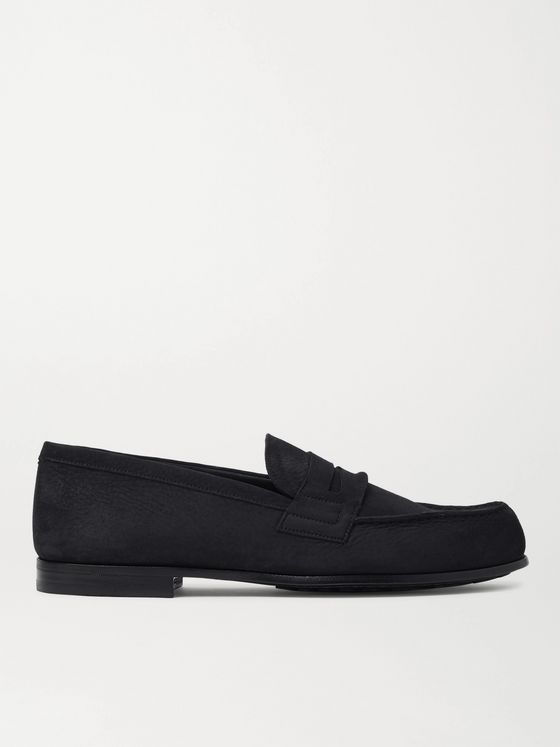 J.M. Weston Nubuck Penny Loafers