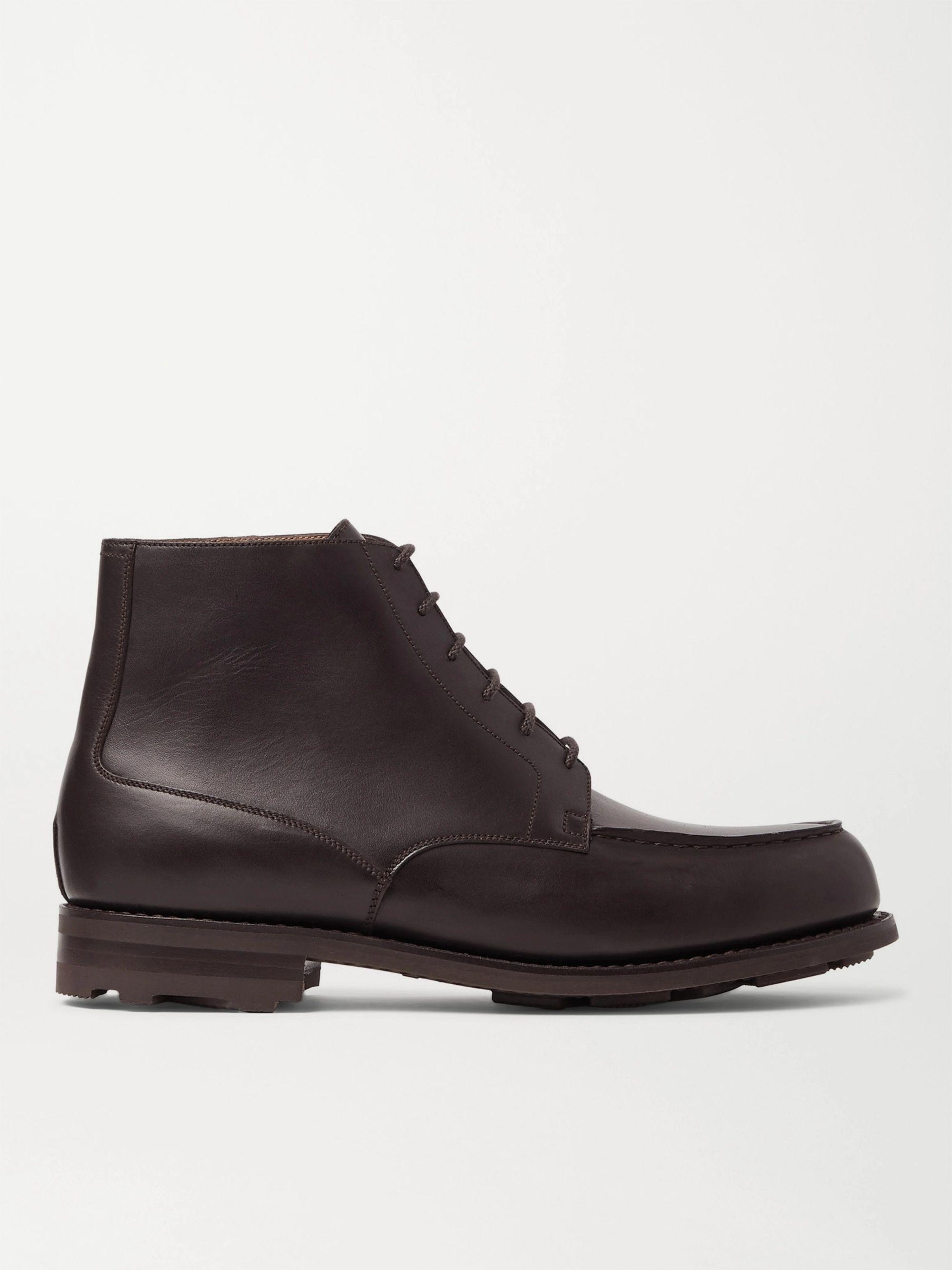 Dark Brown Leather Derby Boots   J.m. Weston