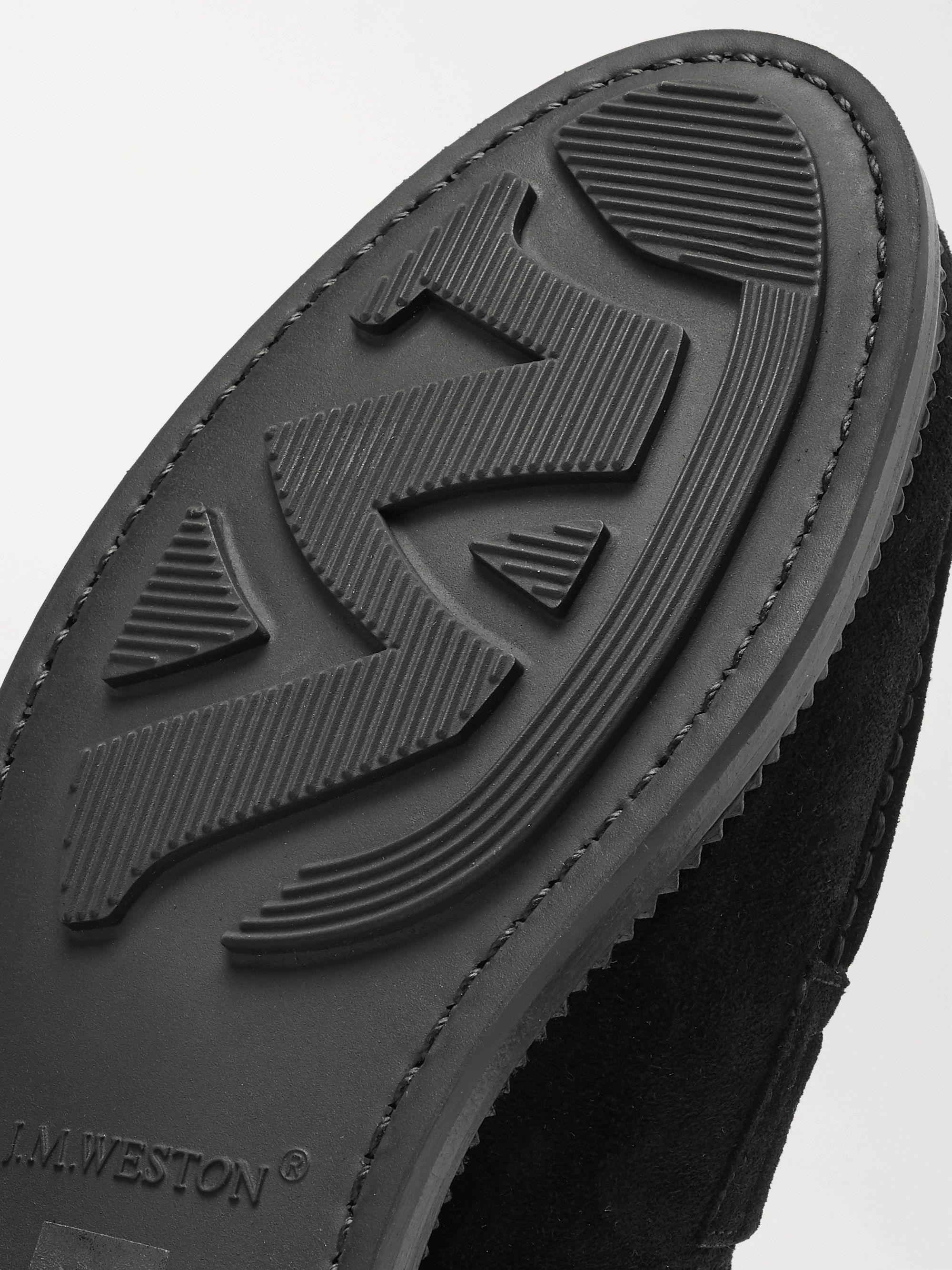 Black Suede Penny Loafers | J.M. Weston | MR PORTER