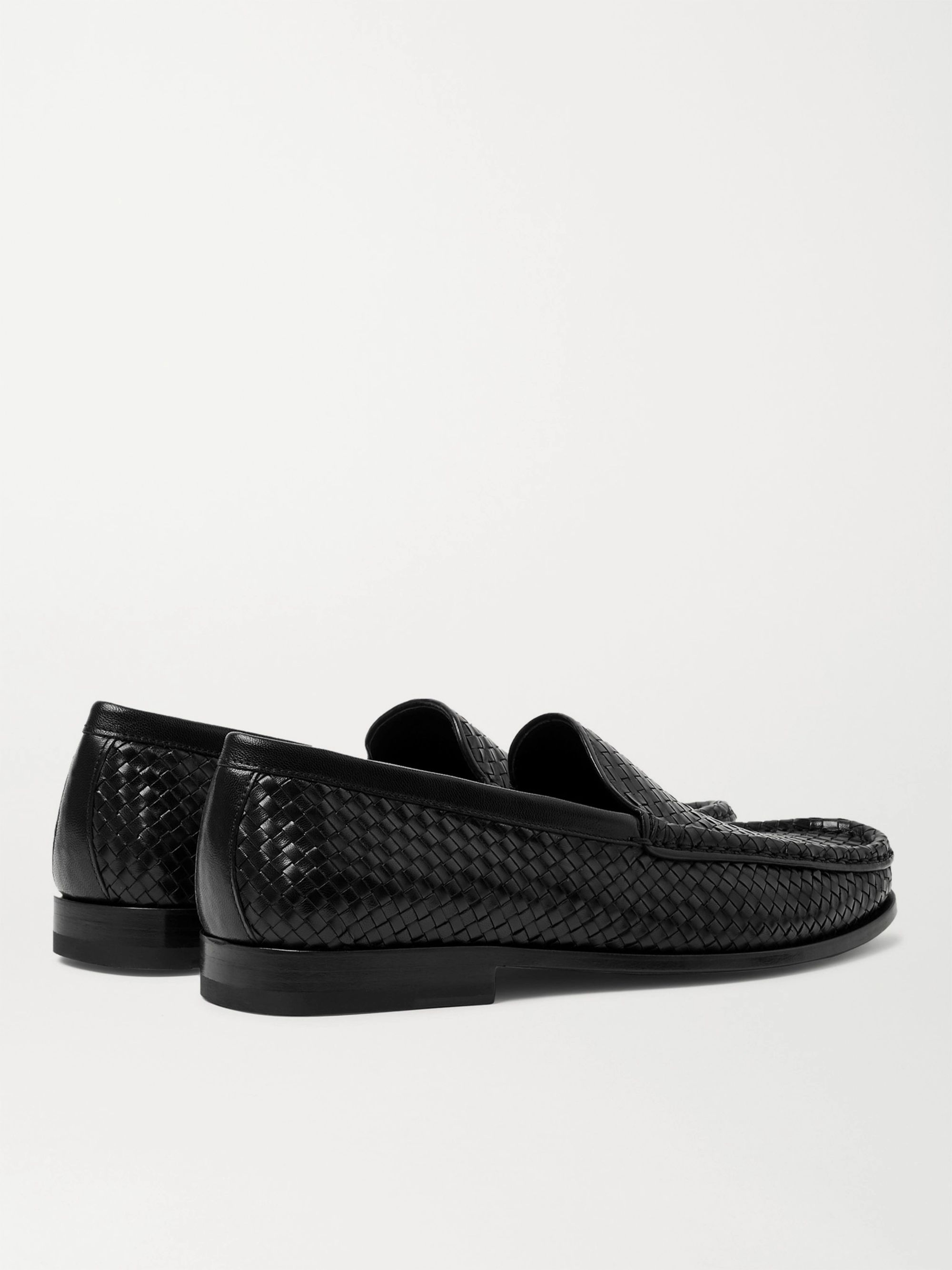Black Collapsible-heel Woven Leather Loafers | J.m. Weston
