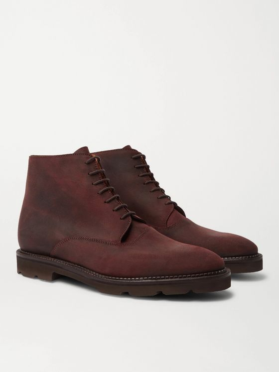 JOHN LOBB Forge Waxed-Suede Oxford Boots