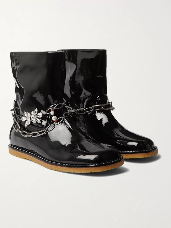 Loewe Chain-Embellished Patent-Leather Boots