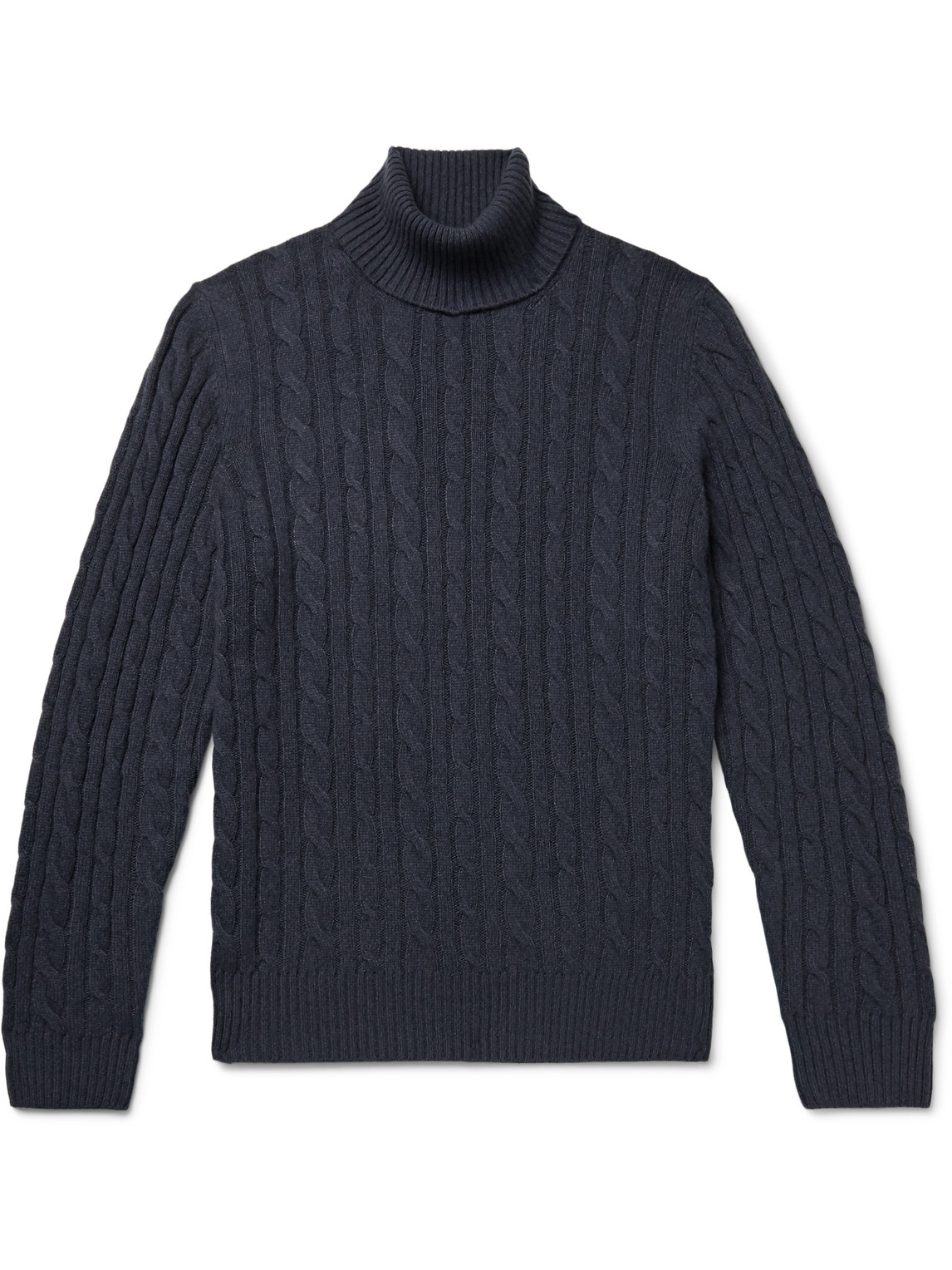 loro piana - cable-knit baby cashmere rollneck sweater - men - blue - it 52