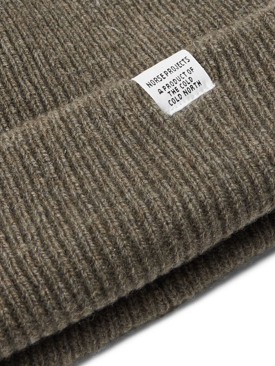 Norse Projects Logo-Appliquéd Ribbed Wool Beanie