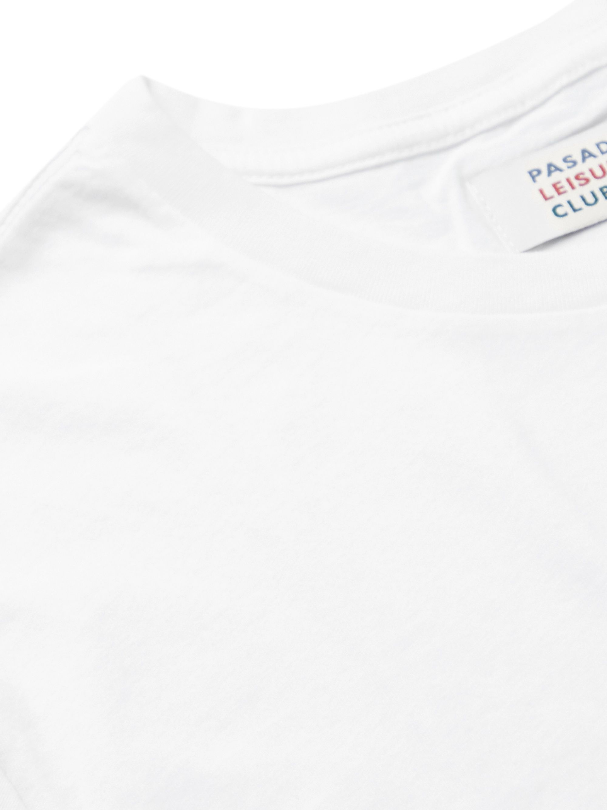 White Synth Printed Enyzme-washed Combed Cotton-jersey T-shirt   Pasadena Leisure Club