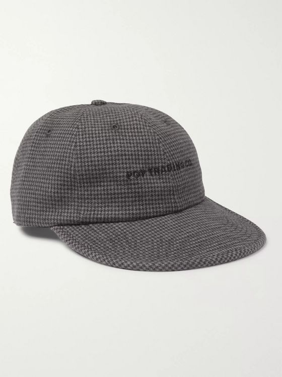 Pop Trading Company Flexfoam 6 Logo-Embroidered Houndstooth Flannel Baseball Cap