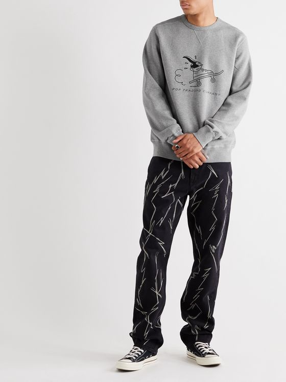 Pop Trading Company + Joost Swarte Printed Mélange Fleece-Back Cotton-Jersey Sweatshirt
