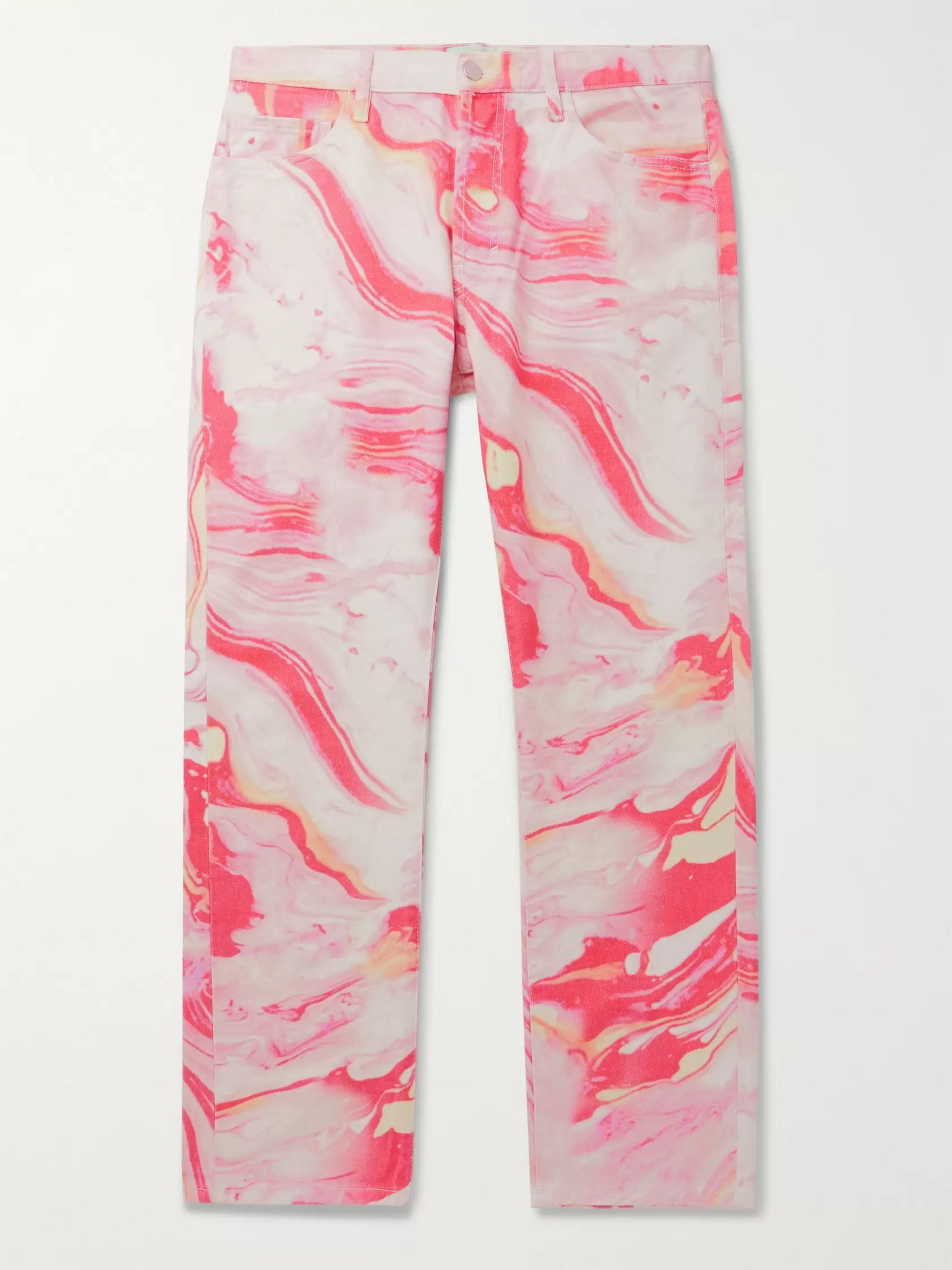 Aries Lilly Marble-Print Denim Jeans