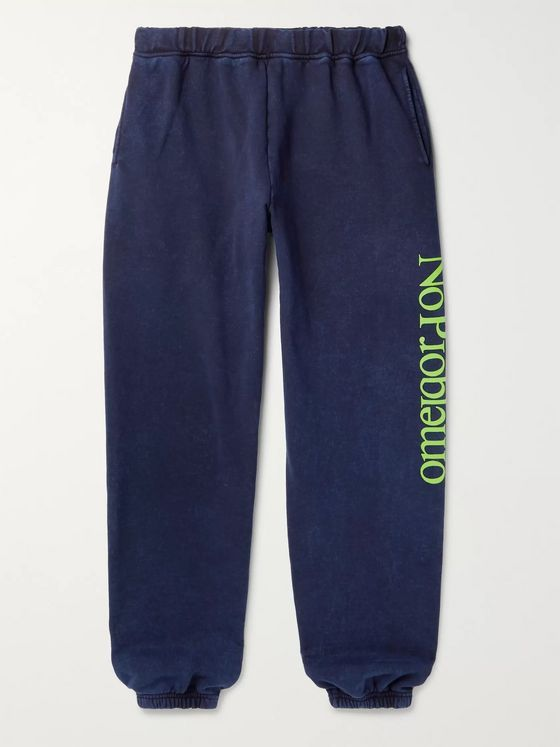 Aries No Problemo Tapered Acid-Washed Fleece-Back Cotton-Jersey Sweatpants